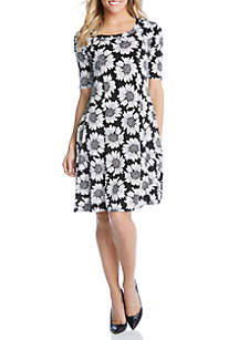 Karen Kane Daisy Print A Line Dress