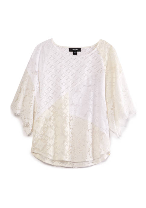 Womens Mixed Lace Modern Top