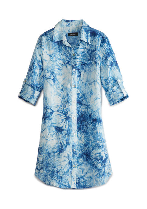 Karen Kane Womens Linen Tie Dye Shirtdress
