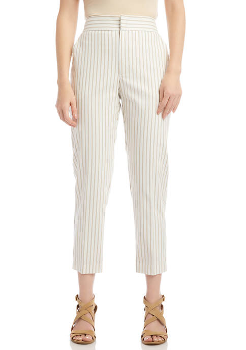 Petite Khaki Stripe Twill Pants
