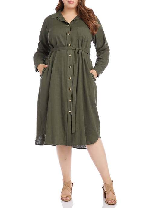 Karen Kane Plus Size Long Sleeve Linen Shirt