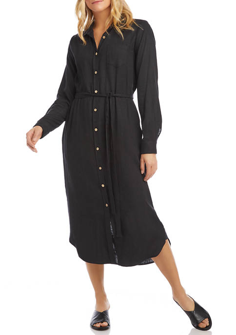 Karen Kane Womens Long Shirtdress