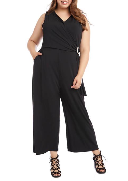 Karen Kane Plus Size Faux Wrap Jumpsuit