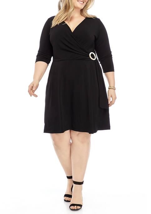 Plus Size Faux Wrap Dress