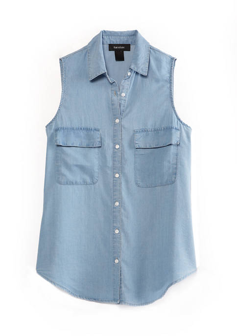 Karen Kane Womens Sleeveless Chambray Shirt