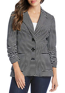 Karen Kane Shirred Sleeve Stripe Jacket