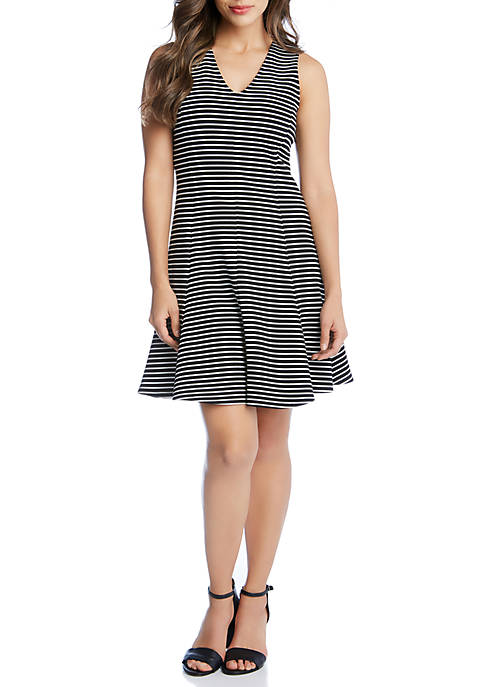 Karen Kane Stripe Fit and Flare Dress