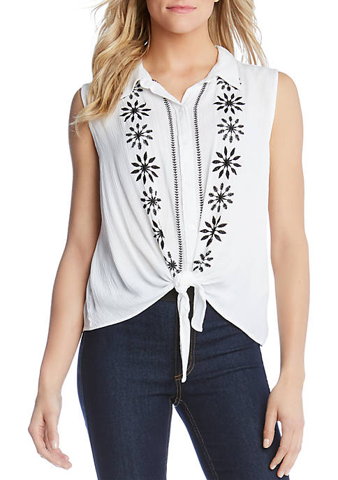 Karen Kane Embroidered Tie Front Top