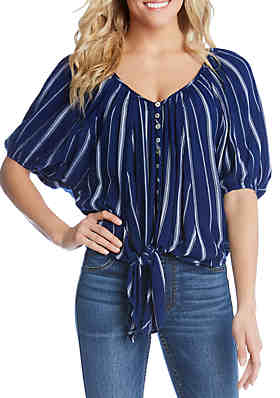 2d580321d1 Karen Kane Tie Front Button Top ...