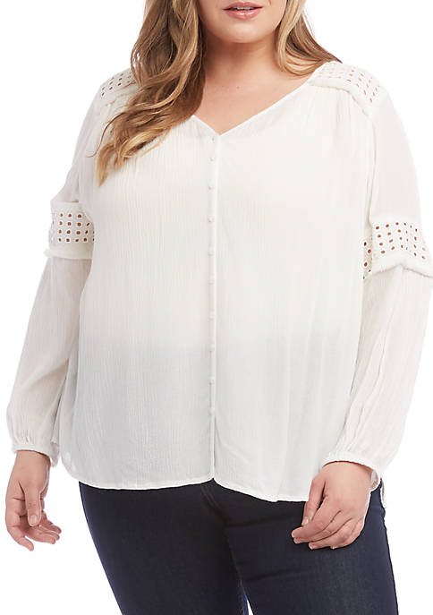 Plus Size Embroidered Cut Out Top