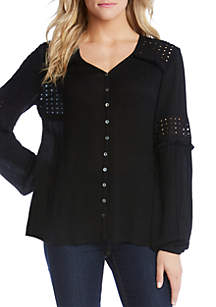 Karen Kane Embroidered Cutout Top