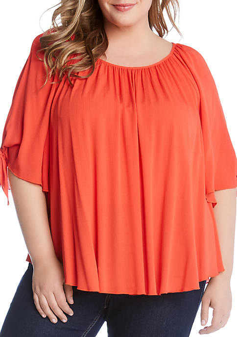 Karen Kane Plus Size Tie Sleeve Top