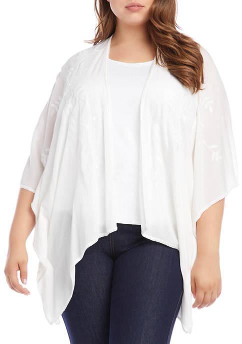 Plus Size Embroidered Kimono Jacket