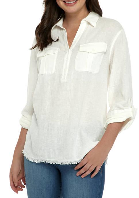 Karen Kane Womens Roll Tab Sleeve Top