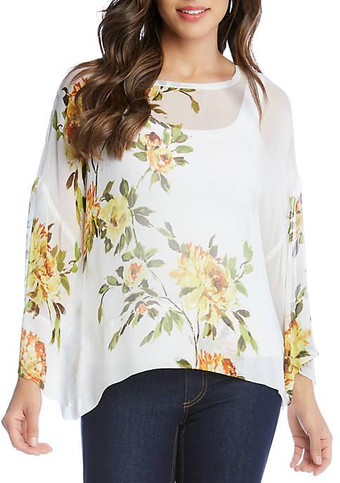 Karen Kane Floral Side Slit Top