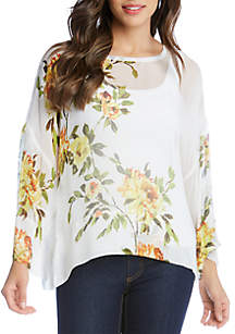 Karen Kane Floral Side Slit Top