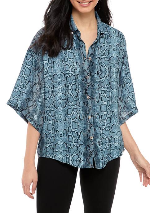 Karen Kane Womens Drop Shoulder Sleeve Relaxed Shirt
