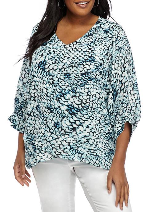 Karen Kane Plus Size 3/4 Asymmetric Woven Top