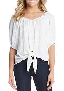 Karen Kane Tie Front Blouson Sleeve Top