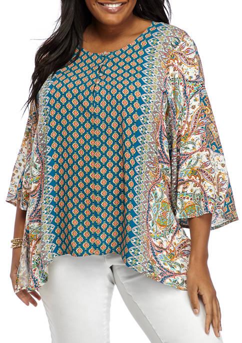 Karen Kane Plus Size 3/4 Handkerchief Hem Woven