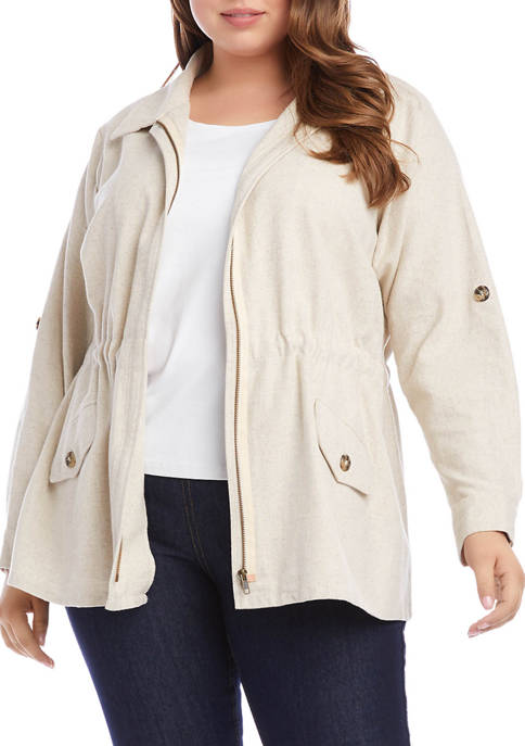 Plus Size Roll Tab Cargo Jacket