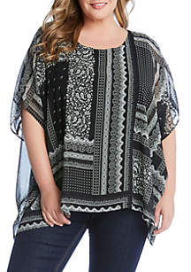 Karen Kane Plus Size Layered Scarf Top
