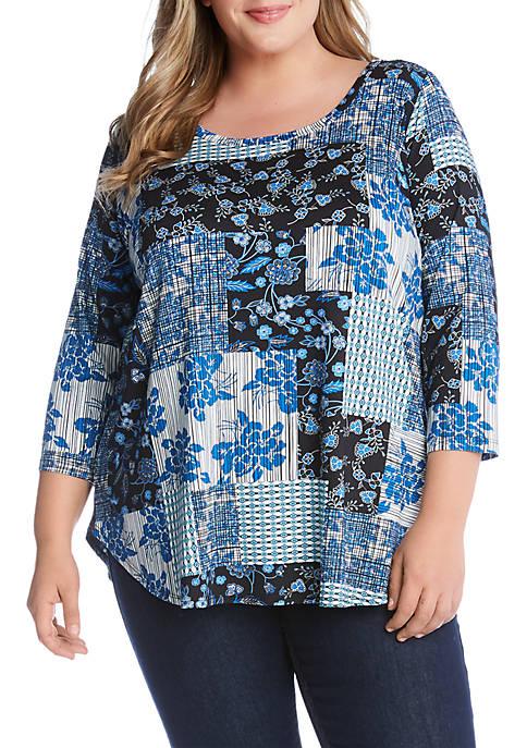 Karen Kane Plus Size 3/4 Sleeve Shirttail Tee