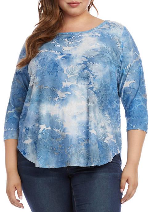 Karen Kane Plus Size 3/4 Sleeve Tie Dye