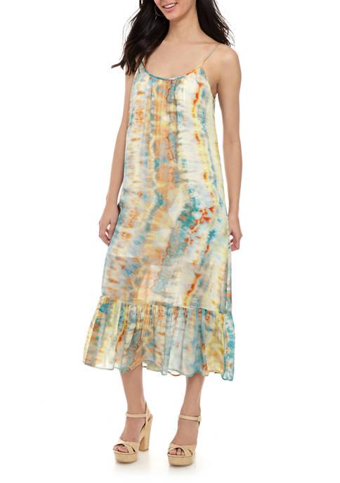 Womens Tie Dye Ruffle Hem Dress