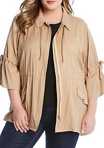Karen Kane Plus Size Tie Sleeve Cargo Jacket