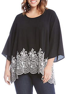 Plus Size Embroidered Three-Quarter Sleeve Top