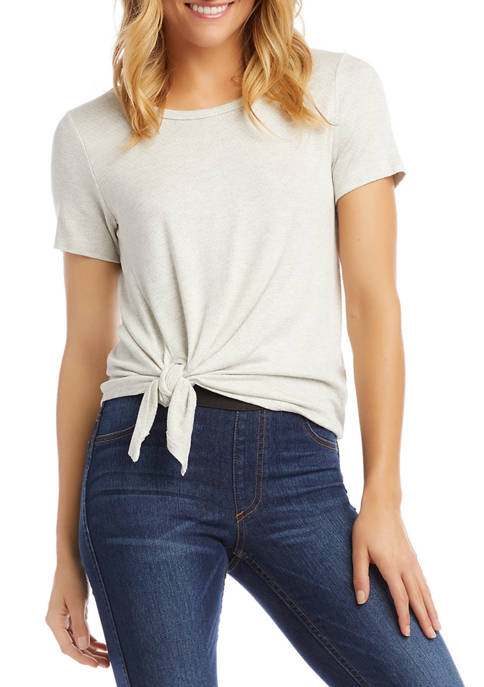 Karen Kane Petite Short Sleeve Textured Side Tie