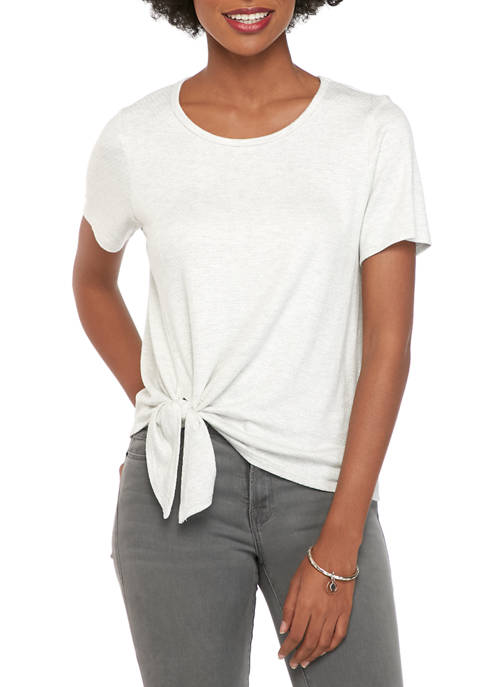 Karen Kane Womens Textured Side Tie Top