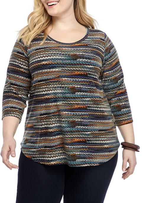 Womens 3/4 Sleeve Stripe Knit Top