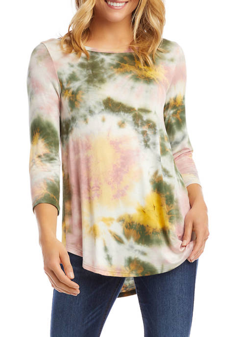 Karen Kane Womens 3/4 Sleeve Tie Dye Top