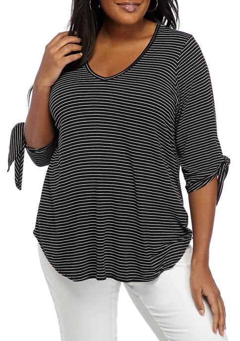 Plus Size Tie Sleeve Stripe Knit Top