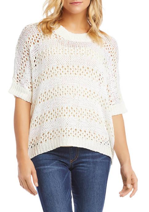 Karen Kane Womens Short Sleeve Crochet Sweater
