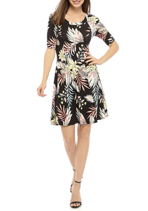 Karen Kane Womens Tropical Print A Line Dress