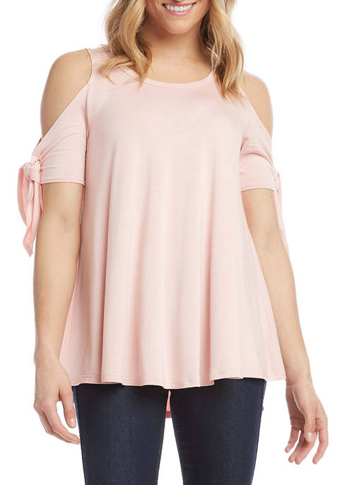 Womens Cold Shoulder Knot Top