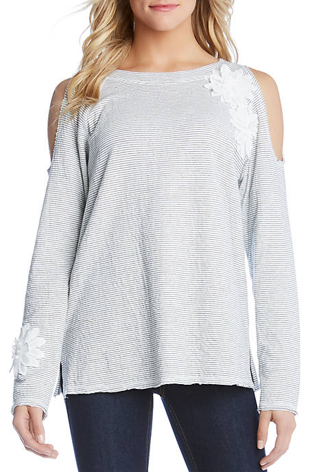 Karen Kane Embellished Cold Shoulder Top