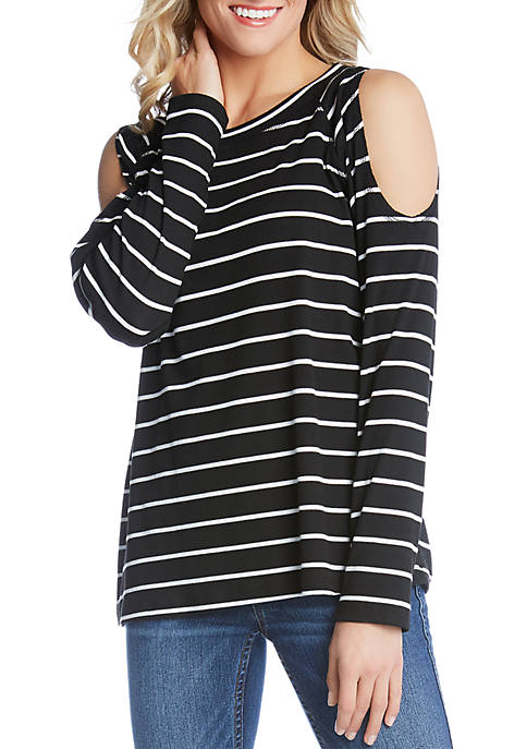 Karen Kane Cold Shoulder Stripe Top