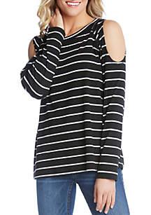 Karen Kane Cold Shoulder Stripe Top