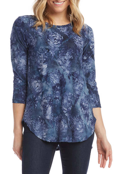 Womens Tie Dye Burnout Shirttail Top