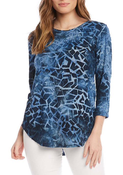 Karen Kane Womens Tie Dye Burnout Shirttail Top