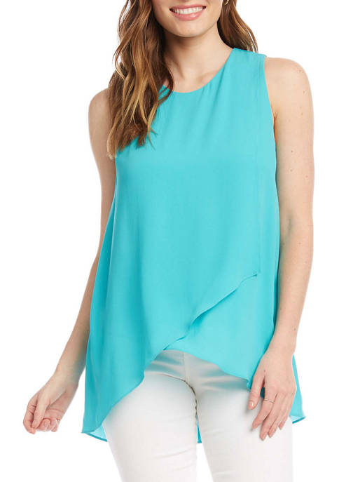 Karen Kane Womens Asymmetric Side Drape Top