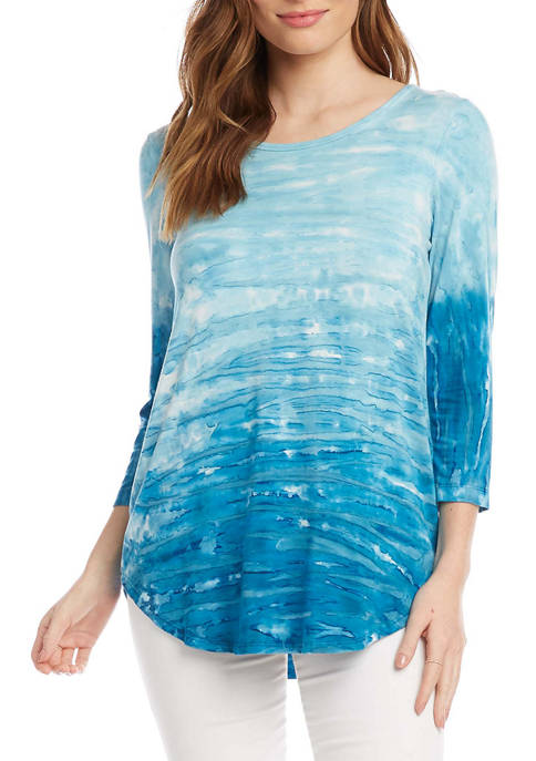 Karen Kane Womens 3/4 Sleeve Tie Dye Top