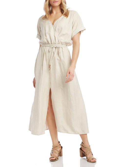 Karen Kane Womens Short Sleeve Linen Midi Dress