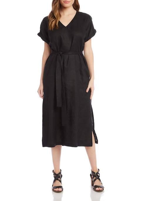 Womens Belted Linen Dress