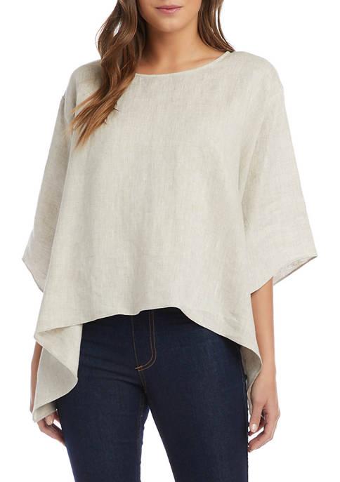 Womens Short Sleeve Linen Flare Hem Top