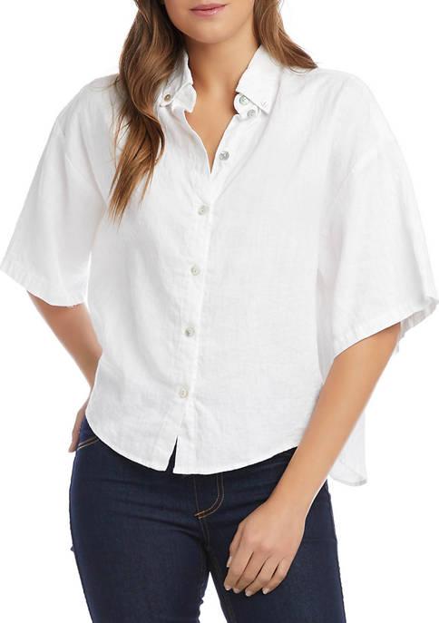 Karen Kane Womens Elbow Sleeve Relaxed Linen Shirt